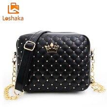 Loshaka Women Shoulder Bag Fashion Plaid Messenger Bags Rivet Chain Handbag High Quality PU Leather Crossbody Quiled Crown Bags