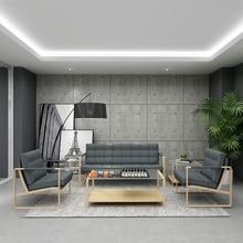 Высокая плотность Мода серый офисный диван закаленное журнальный столик набор