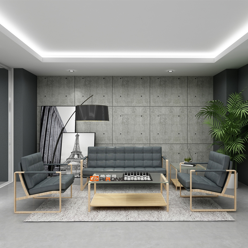 Simple Modern Reception Office Leisure Furniture Grey Leather Office Sofa Tempered Coffee Table Set Wood Single Sofa Couch Chair