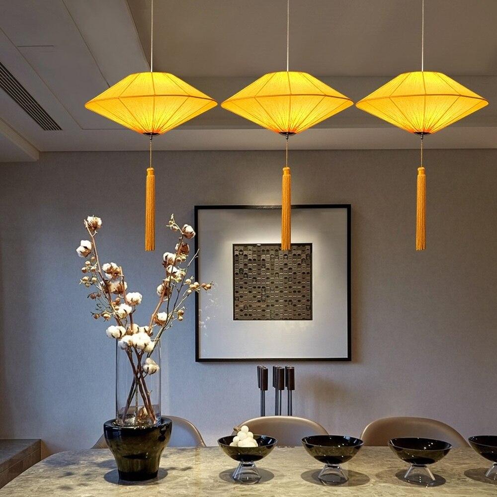 Nouveau style chinois antique restaurant lustre bar table lampe Zen hot pot magasin tissu jaune lustre LU8151456
