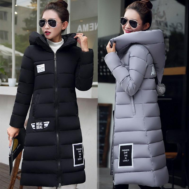 ФОТО 2016 New Fashion Down  Parkas Warm Winter Coat Women Light Thick Winter Hooded Elegant Casual Long Sleeve Jackets Women Coat