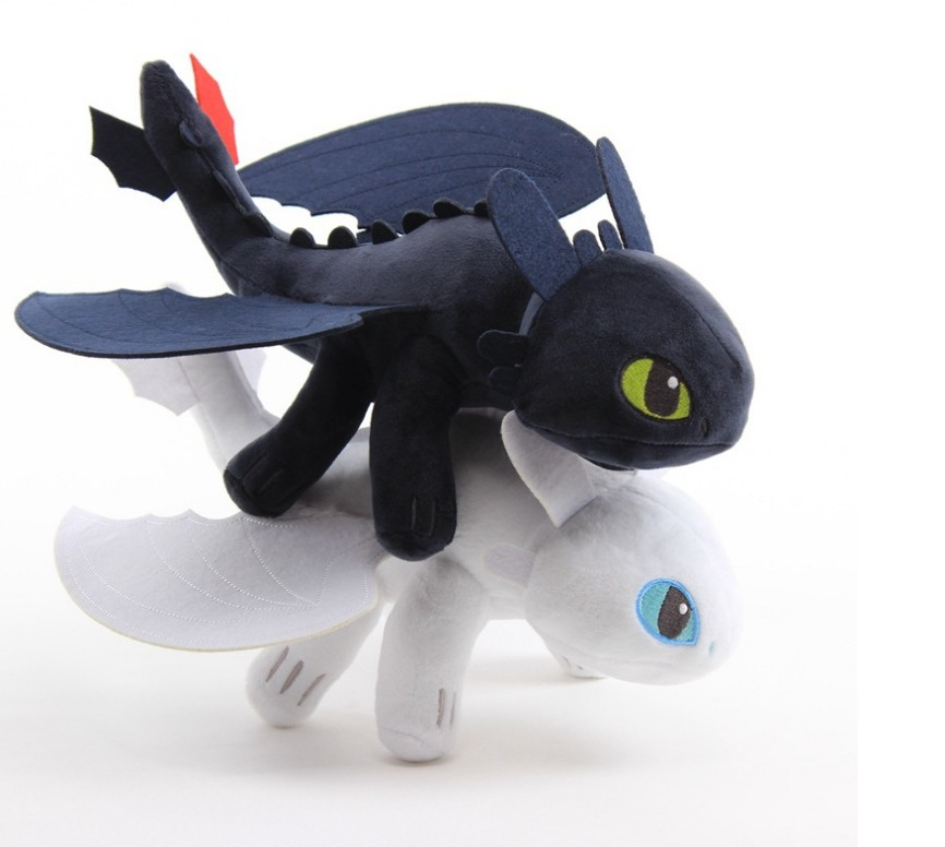 Free Shipping How To Train Your Dragon Toothless Black White  Dragon Plush Toy  Stuffed Animal Soft Plush Toy 5 Sizes 25-60 Cm