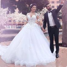 Thinyfull Vestido De Noiva 2019 Arabic Dubai Plus Size Long Sleeves Wedding Dresses Princesse Lace Illusion Tulle robe mariee