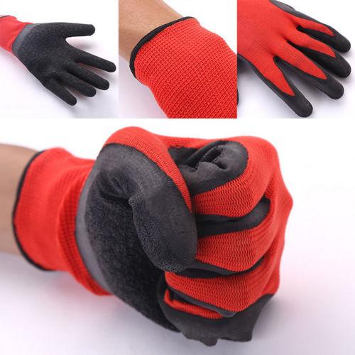 24 Pairs Latex Coated Orange Rubber Work Gloves Mens Safety Builders Gardening Medium