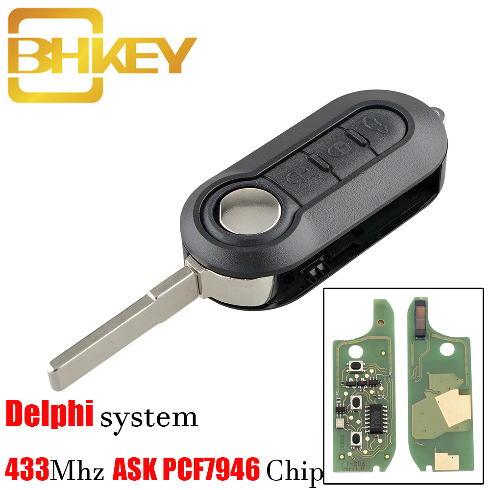 BHKEY 3 Button <font><b>Remote</b></font> Flip Car <font><b>Key</b></font> 433Mhz For <font><b>Fiat</b></font> 500 Grande Punto Doblo Qubo 2006 2007 2013 DelphiBSI with PCF7946 Chip image