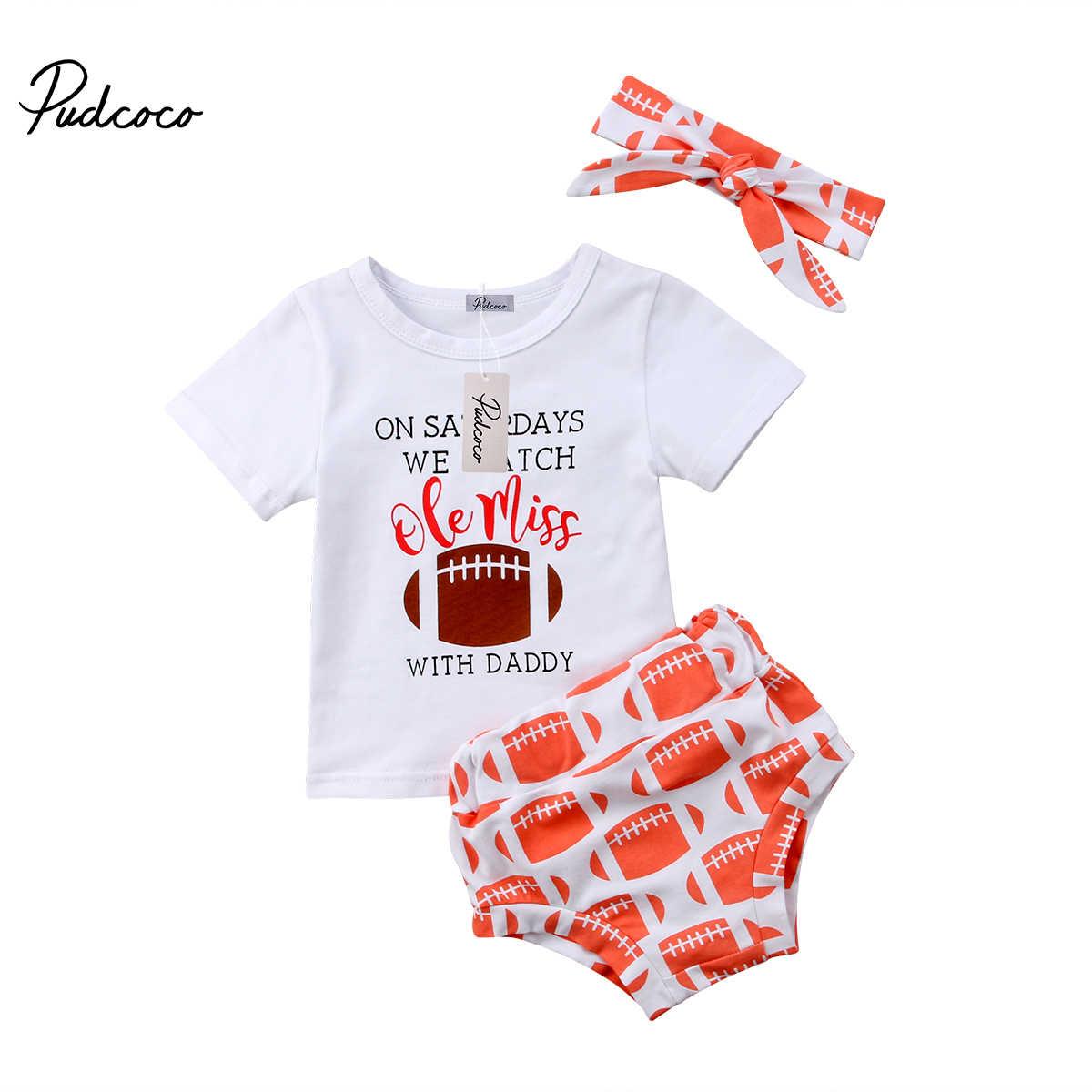 2018ブランド新しい幼児幼児子供キッズベビー女の子ラグビー衣装トップスt-シャツ+ショートパンツ3ピース夏cusualサンスーツ服1-6 t