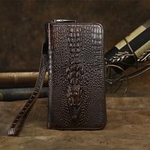 NEWEEKEND LS026 Vintage Casual Genuine Leather Oil Wax Long Crocodile Zipper Cash Coin Phone Pocket Clutch
