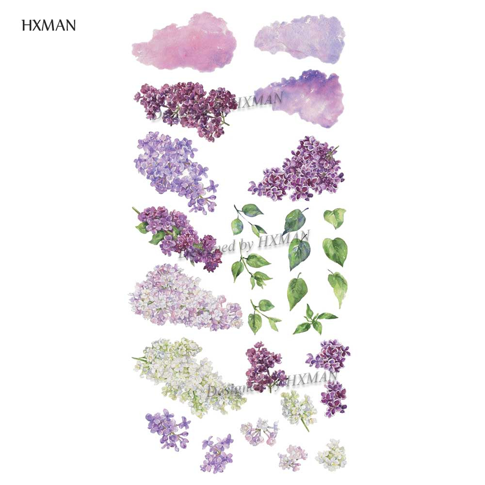 HXMAN Flower Temporary Tattoos Sticker Waterproof Fashion Women Arm Face Fake Body Art 9.8X6cm Kids Adult Hand Tatoo P-062