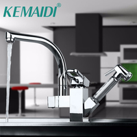 KEMAIDI Good Quality Polish Chrome Kitchen Faucet Kitchen Sink Mixer With Pull Out Shower Sprayer Kitchen Mixer High Power Tap