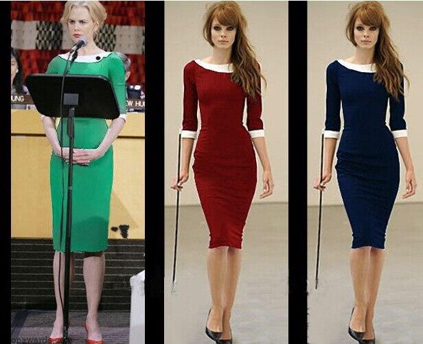 Vestito Elegante Ufficio : Donne elegante patchwork indossare al lavoro business casual