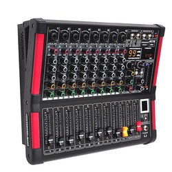 MINI8-P 8 قنوات وحدة التحكم خلط الطاقة مع مكبر للصوت بلوتوث سجل 99 DSP تأثير يو إس بي احترافي جهاز مزج الصوت