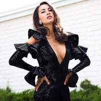 Seamyla New 2019 Celebrity Night Out Club Dress Women Black Sequined Sexy Dresses Vestidos Ruffles V Neck Evening Party Dress