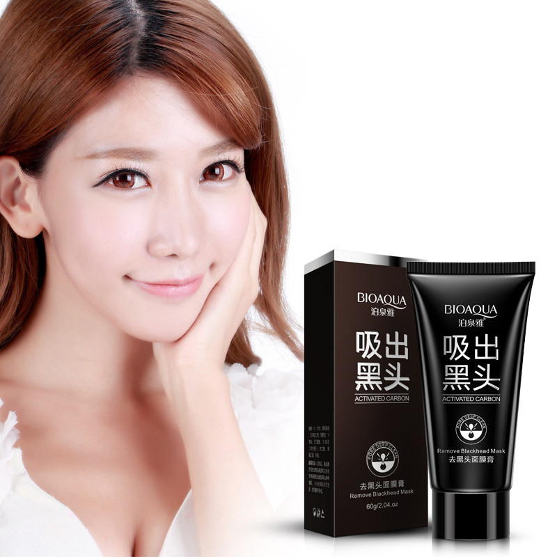 BIOAQUA Skin Care Black mud Facial face mask Deep Cleansing purifying Remove blackhead facial mask strawberry nose Acne remover