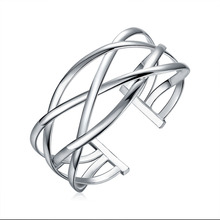 2015 new arrived 925 sterling silver jewelry big wide cross mesh open cuff bracelet  bangle for women promotion trendy