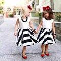 Cute Baby Girls Summer Dresses Sleeveless Bowknot Backless Flared Dress Kids Girls Party Striped Dress