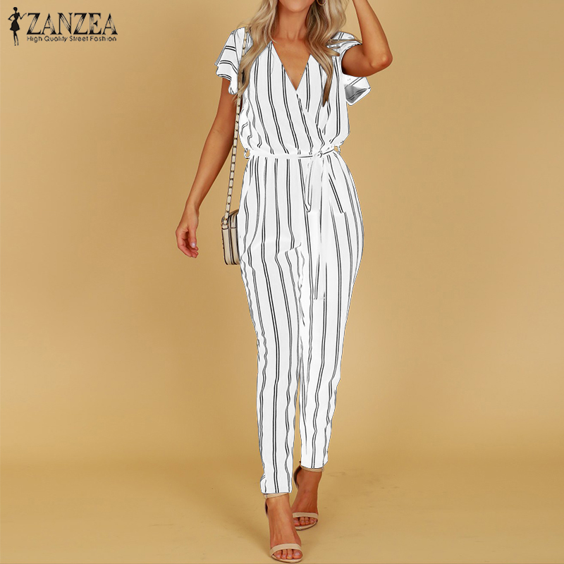 5c0cbc17 Cheap ZANZEA 2019 mono de rayas para mujer Pantalones casuales de cintura  alta para mujer Sexy