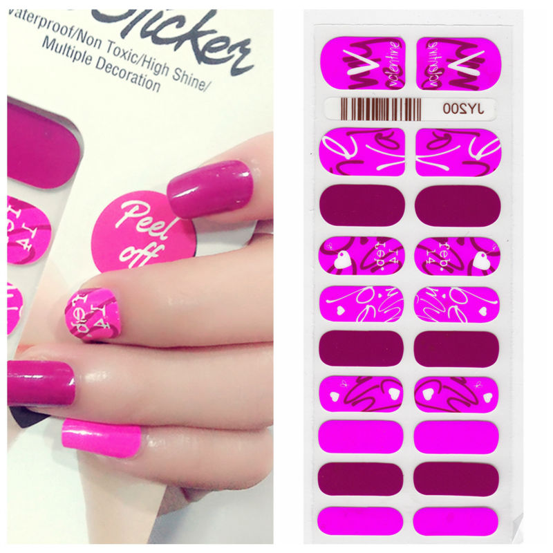 X.T XT Nail Polish Strips Pink Valentine\'S Day Waterproof Non toxic ...