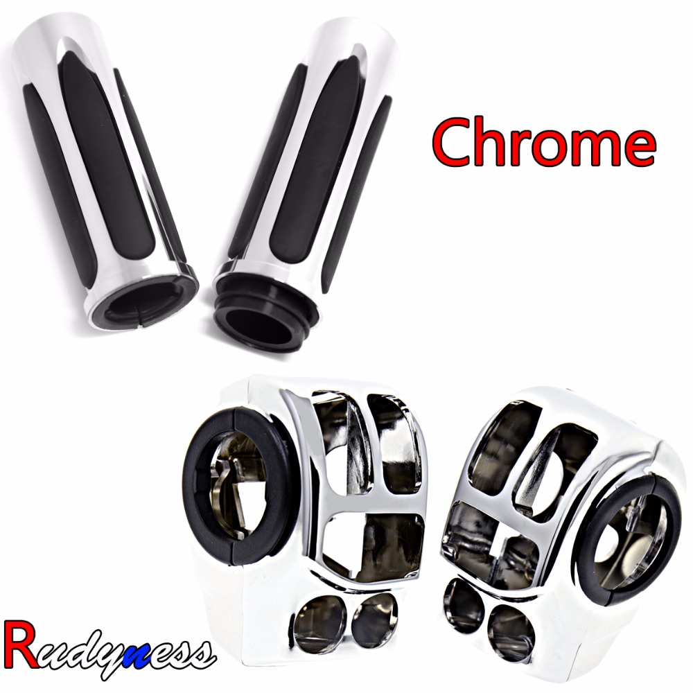 Chrome Handlebar Control Switch Housings&Hand Grips For Harley Touring Electra Street Glide Road King 14-18 By Wire Models abs hard saddlebags latch keys for harley road king electra street glide 14 18