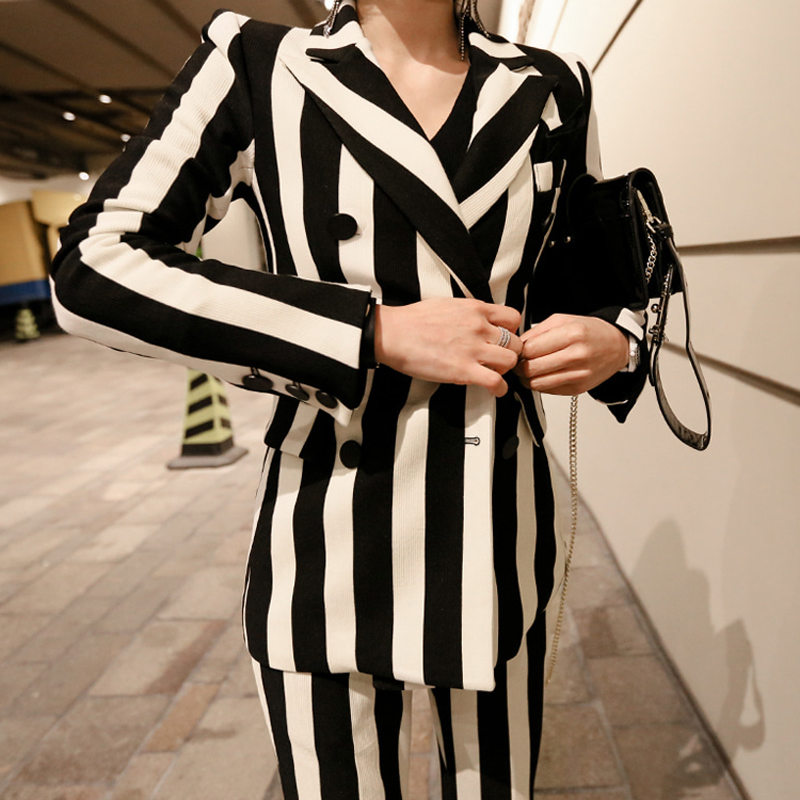Vintage Pant Suits Striped Bouble Breasted Women Blazer Jacket and Slim Pencil Pant 2 Pieces Sets