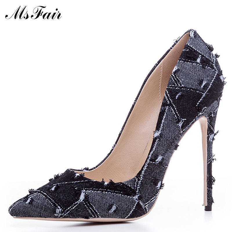 MSFAIR Shallow Mixed Colors Women Pumps Thin Heels Pointed Toe High Heels Fashion Stiletto heel Single Shoes Ladies Girl Pumps lady s pumps high thin heel spike heels mixed colors metal buckle elegant concise women wedding shoes 2015 high heels