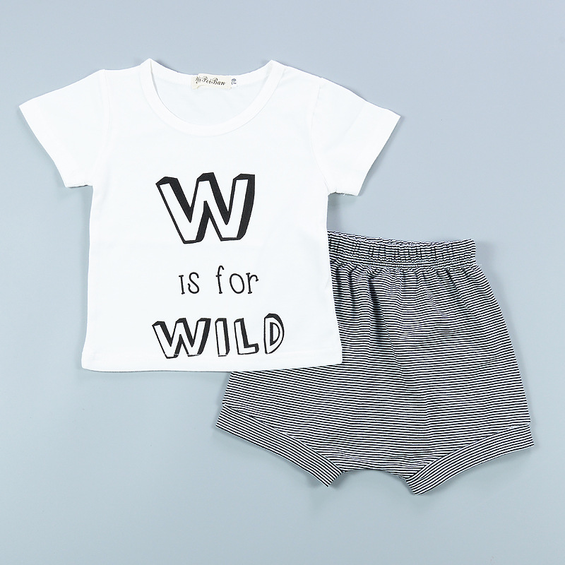 2pcs Cute summer boys girls Letter wave pattern casual set T-shirts and shorts baby clothes Suits Childrens suit for 12M-3T