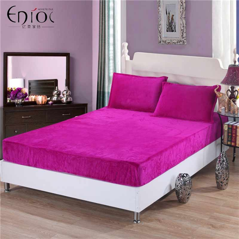 1pcs fitted sheet winter warm flannel solid printed mattress cover u0026 grippers suit size r325