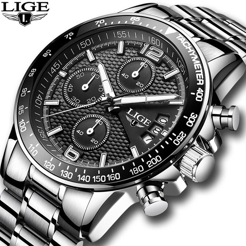 2018 часы Для мужчин LIGE Для мужчин s часы лучший бренд класса люкс Полный Сталь Бизнес кварцевые Повседневное Водонепроницаемый спортивные ча