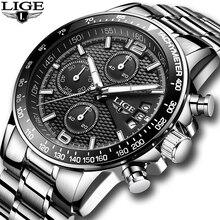 LIGE montre de Sport pour hommes, marque de luxe, entièrement en acier, à Quartz, étanche, avec boîte, 2020