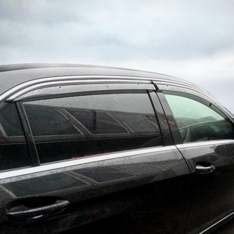 For Mercedes-Benz E-Class (W213) 4-Door Sedan 2016 2017 2018 Window Visor Vent Shield Rain/Sun/Wind Guard Deflector Trim 4pcs 2015 2017 car wind deflector awnings shelters for hilux vigo revo black window deflector guard rain shield fit for hilux revo