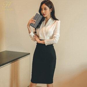 Image 5 - H Han Queen solidny Patchwork koreański płaszcza ołówek jesień sukienka kobiety 2018 oficjalne nosić sukienki bandażowe typu Bodycon Casual Business Vestidos