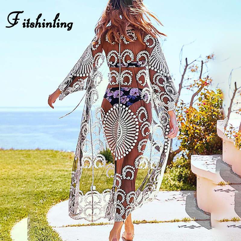 Fitshinling Mesh Beach Cover Up Swimwear Embroidery Flower See Through Kimono Summer Long Cardigan Holiday Sexy Hot Cover-Ups