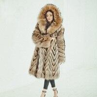 Tatyana Furclub 2018 Casual New Real Fur Coat Winter Women Fur Jacket Natural Raccoon Fur Coats Long Plus Size Full Pelt Female