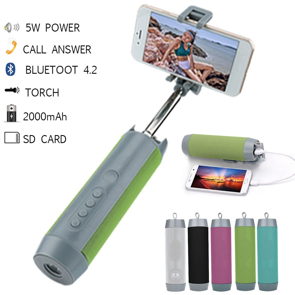 New 5 in 1 Wireless Bluetooth Speaker Power Bank Selfie Stick Multifunctional Portable Outdoor Speaker