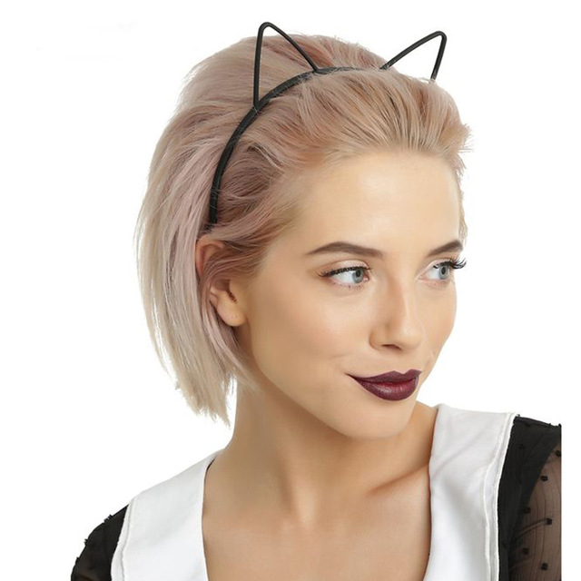 Kids Black Cat Ears Fashion Lady Girl Head Bands Hairband  Self Headband Baby Birthday Party Hair Accessories For Women Hoop