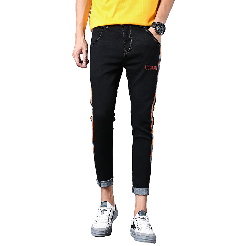 New 2018 Summer Mens Cowboy Striped Patchwork Denim Jeans Casual Skinny Pants Trend Blue/Black Mid Waist Trousers Size 28-34