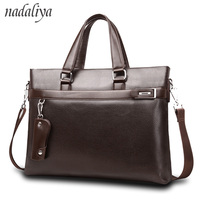 Top Sell Fashion solid Famous Brand Business Men Briefcase Bag Leather Laptop Bag Casual Man Bag Shoulder bags bolso hombre