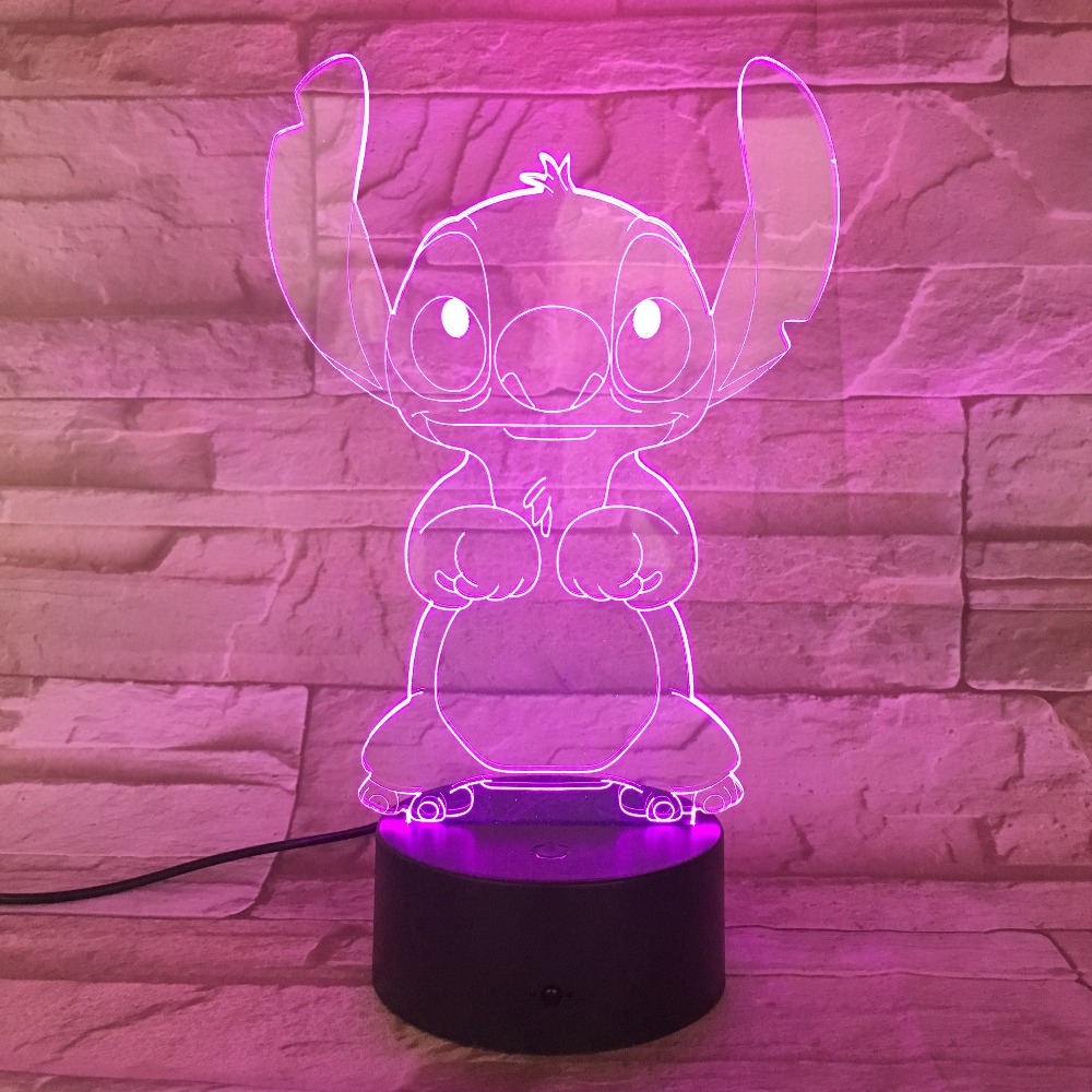 Cartoon Stitch 3D Lamp Bedroom Table Night Light Acrylic Panel USB Cable 7 Colors Change Touch Base Lamp Kids Gift 3D-812 (7 Colors Change)