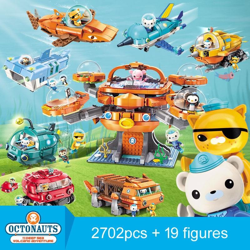 Enlighten Building Block Octonauts All Set Octo-Pod Octopod Playset Educational Bricks Toy скуби ду лего