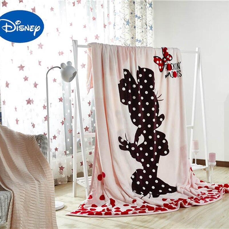 Disney Cartoon Minnie Mouse Printed Velvet Bed Blanket Full Size 200 230CM Girls Bedroom Decor Bedsheet