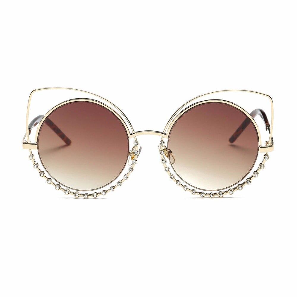 Aevogue солнцезащитные очки женщин негабаритных сплава cat eye круглые стразы украшение рамка марка дизайнер солнцезащитные очки с коробкой ae0516