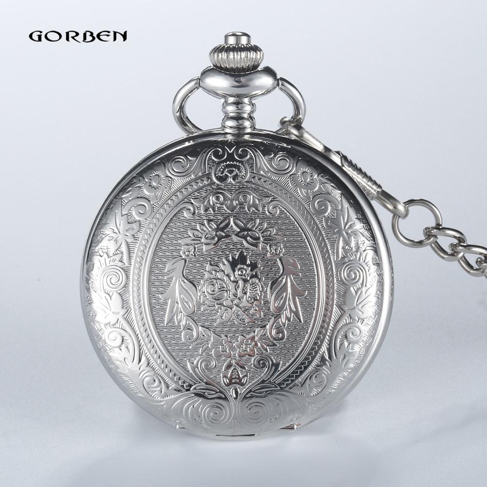 2020 New Arrival GORBEN Pocket Watch Steampunk Silver Men Women Analog Quartz Pocket Watches Round Case Fob Chain Necklace