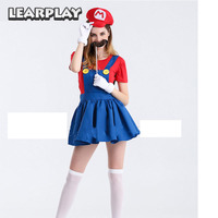Super Mario Dress Cosplay Costumes Adult Women fancy Party dresses with hat Halloween Witch Performance Uniform