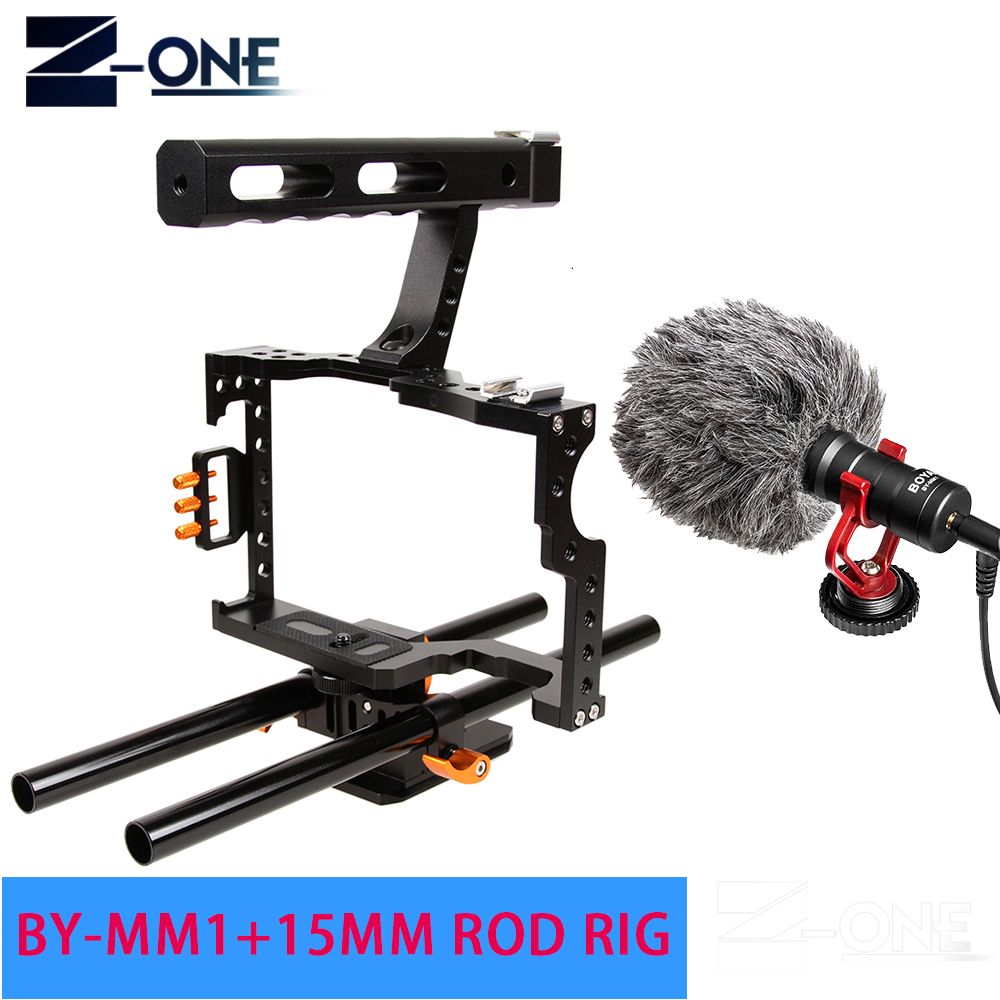 15mm Rod Rig DSLR Camera Video Cage Kit Stabilizer+Top Handle Grip+BOYA BY-MM1 Microphone for Sony A7II A7R A7S A6300 A6500 rod rig dslr video cage kit stabilizer handle grip follow focus for sony a7ii a7r a7s a6300 panasonic gh4 m5