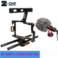 15mm Rod Rig DSLR Camera Video Cage Kit Stabilizer+Top Handle Grip+BOYA BY MM1 Microphone for Sony A7II A7R A7S A6300 A6500