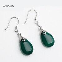 Bohemio piedras semi-preciosas naturales de Alta calidad Natural calcedonia verde plata de ley 925 Pendientes de gota de la joyería femenina