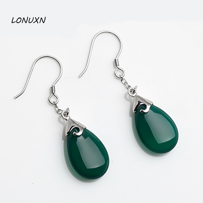 Natural Bohemian natural semi-precious stones High quality female jewelry green chalcedony 925 sterling silver drop Earrings