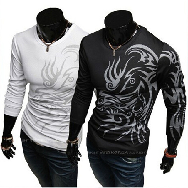 9455f5eab Tattoo Print T Shirt Men Long Sleeve New Fashion Mens Brand Clothing Casual  Slim Fit O