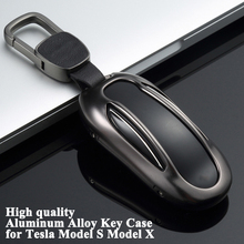 1pc Aluminum Alloy Car Key Case Cover with Belt Protector Shell Storage Bag Styling Accessories for Tesla Model S X
