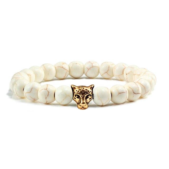 Gold Leopard Head Beads Buddha Bracelet Femme Homme Natural Stone Prayer Yoga Men Jewelry Ethnic Handmade Bracelets&Bangles Gift