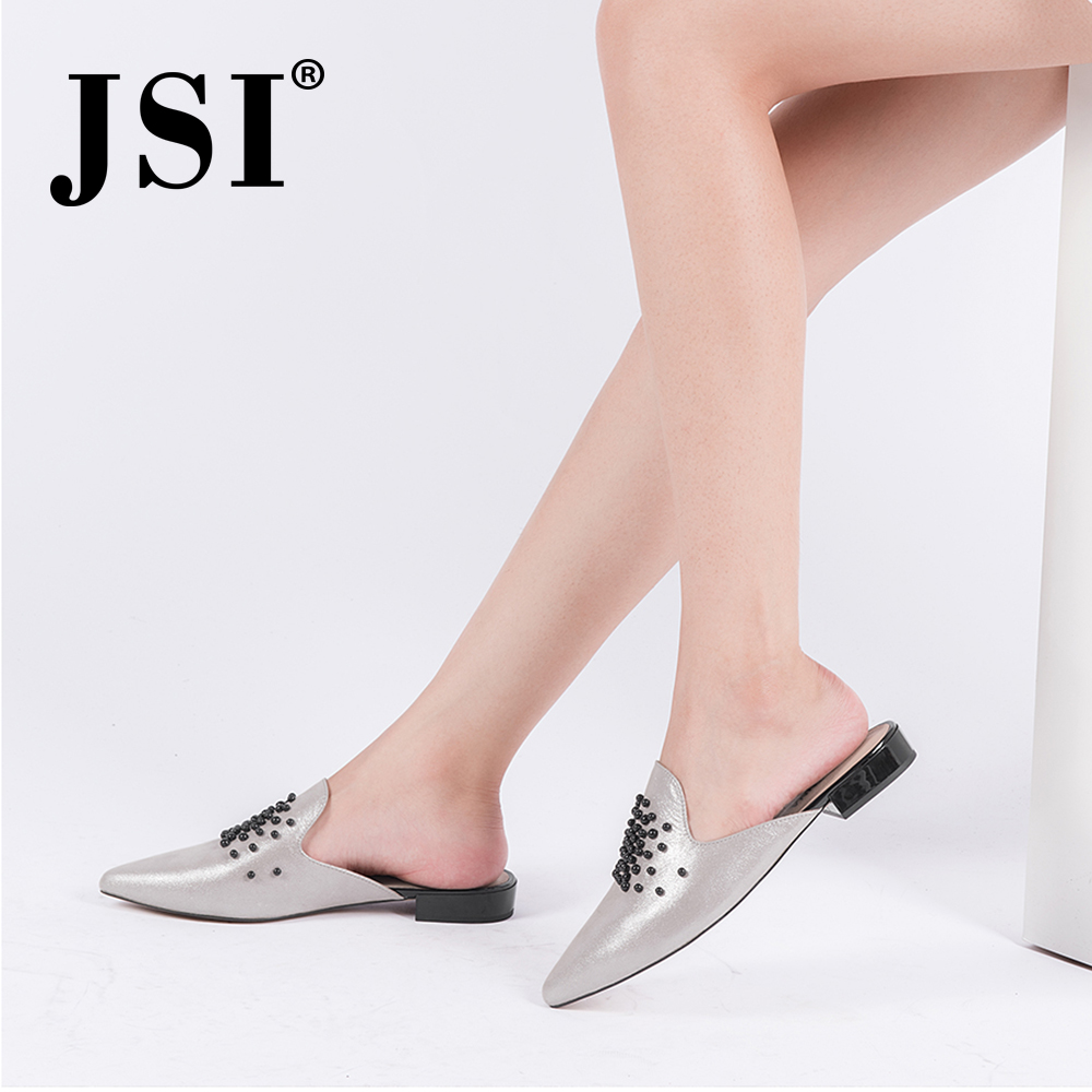 JSI 2019 New Arrival Slip on Woman Solid Casual High quality Sheepskin Silver Mule Shoes Black